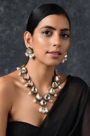 Aaruni Silver Faux Polki Choker Necklace Set