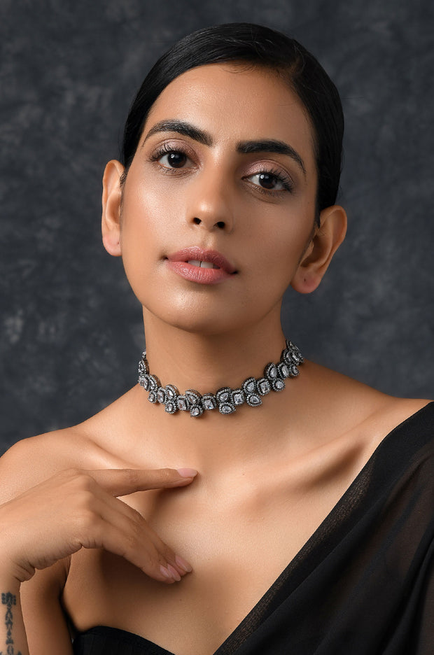 Anvi Silver Faux Polki Choker Necklace