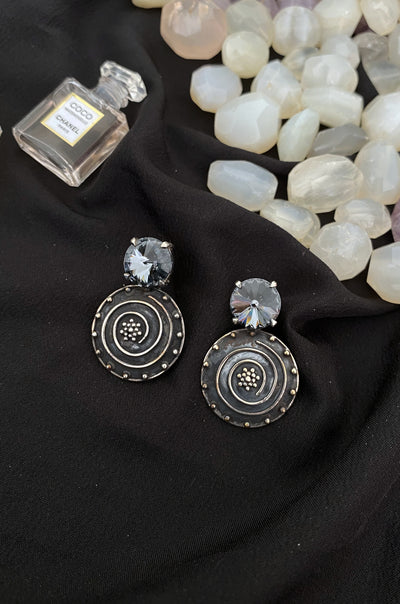 Bahati Grey Swarovski Silver Earrings
