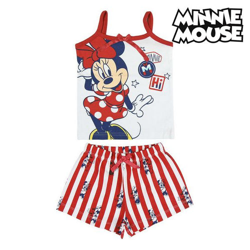 T-shirt med shorts för barn Minnie Mouse Röd Blå