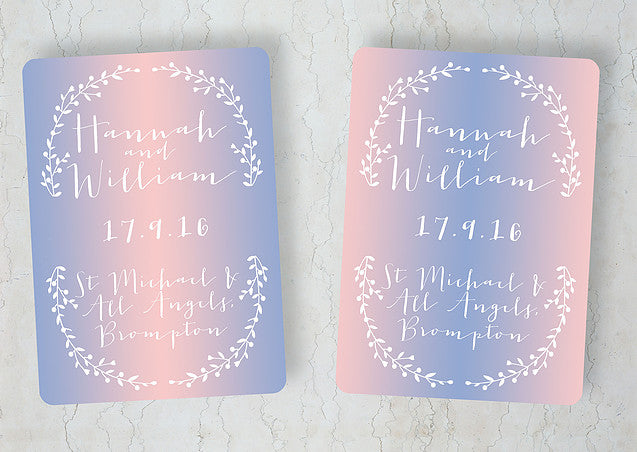 Rose Quartz & Serenity wedding invitation