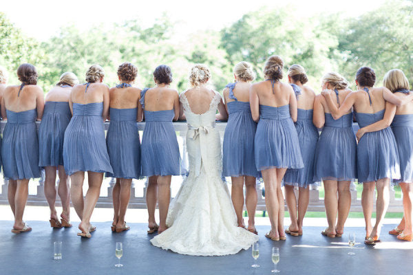 Serenity-colored bridesmaid dresses