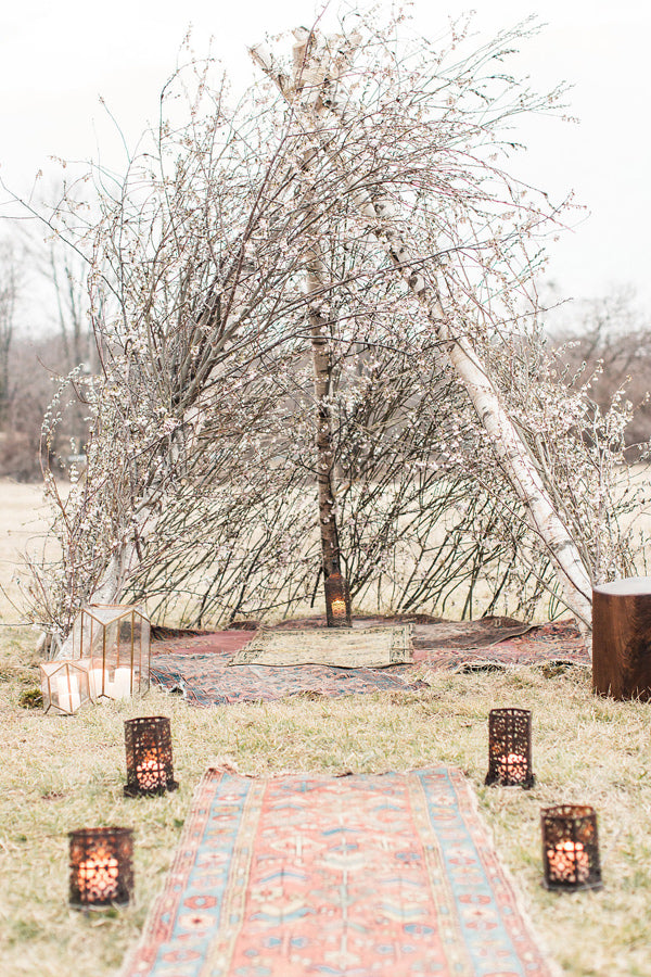 Winter boho-inspired wedding ceremony