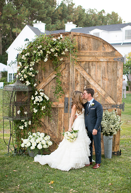 barn door wedding backdrop