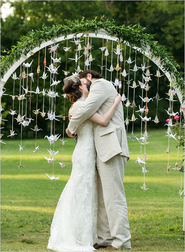 paper cranes wedding backdrop
