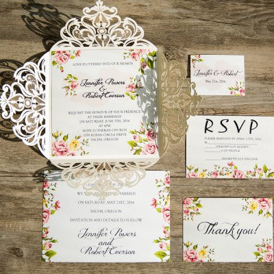 romantic peach flower invites