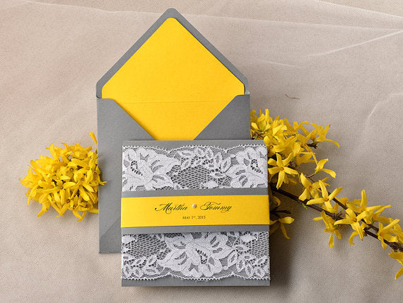yellow and lace spring wedding invite