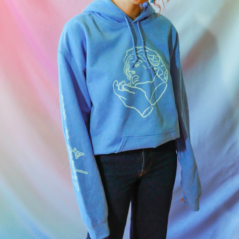 Crying is Cool Hoodie in Blue
