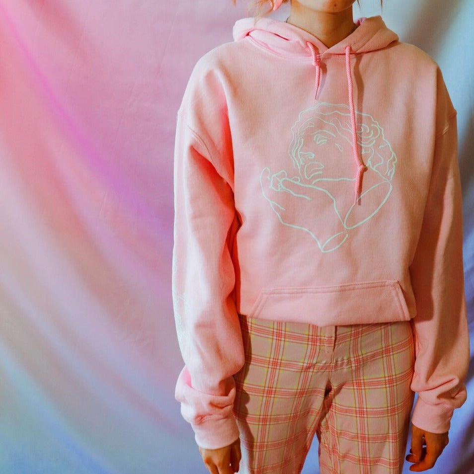 Crying is Cool Hoodie in Pink