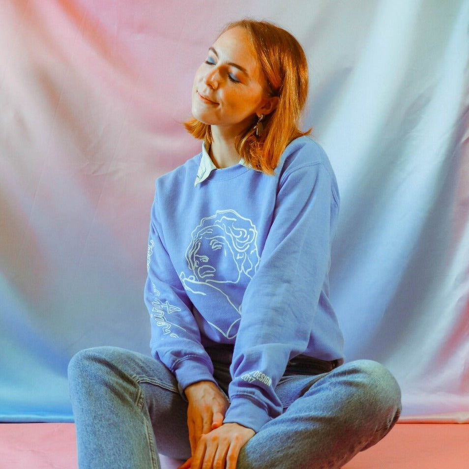 Crying is Cool Crewneck in Blue