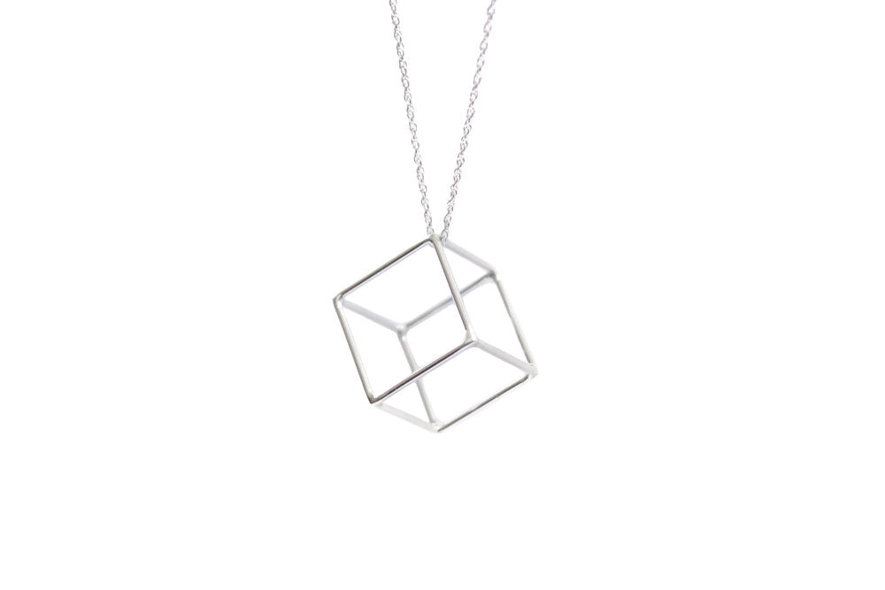 Tiny Cube Necklace - Long