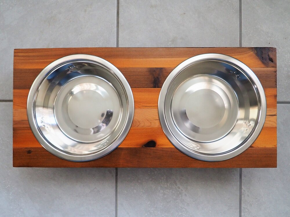 Raised Dog Bowl Stand - [Bowls Included]