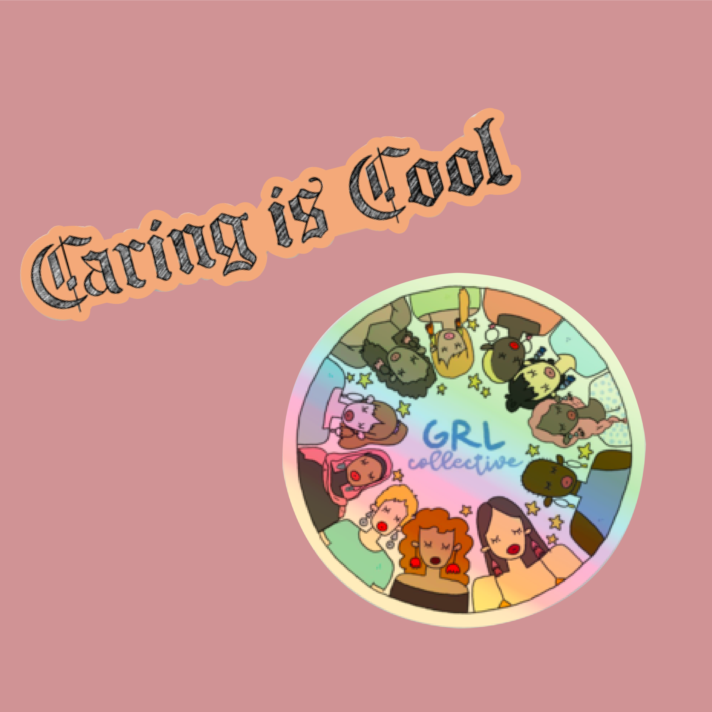 Caring Is Cool Sticker Set