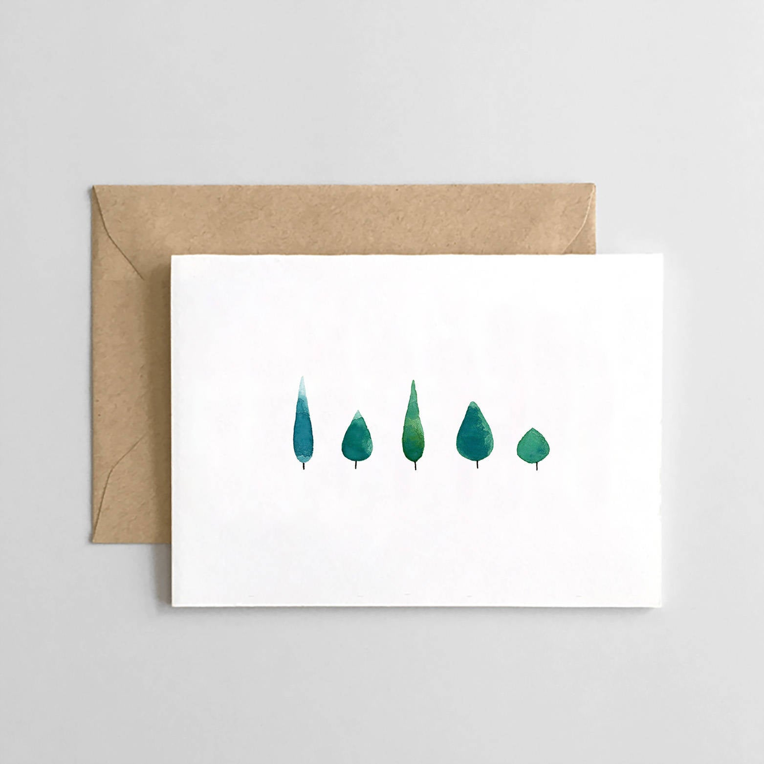 Holiday Card Set of 6 - Evergreen Trees - Stationary -  Christmas Cards