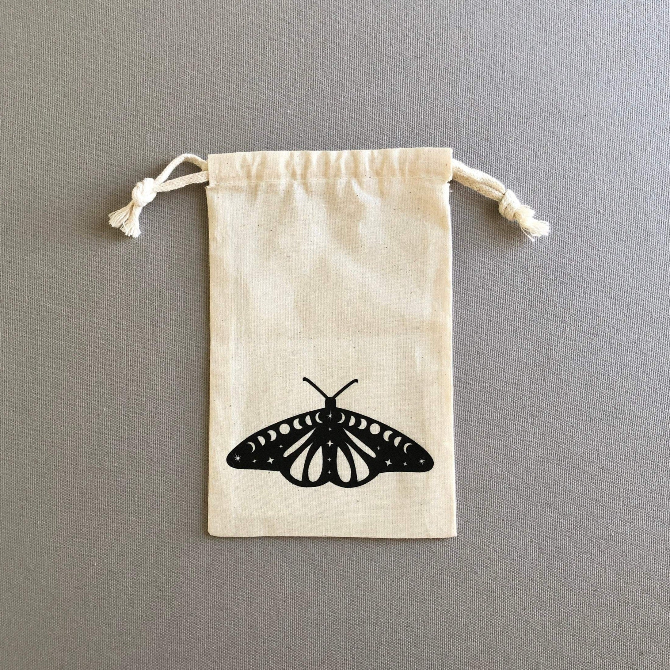 Cosmic Moth Drawstring Pouch Bag