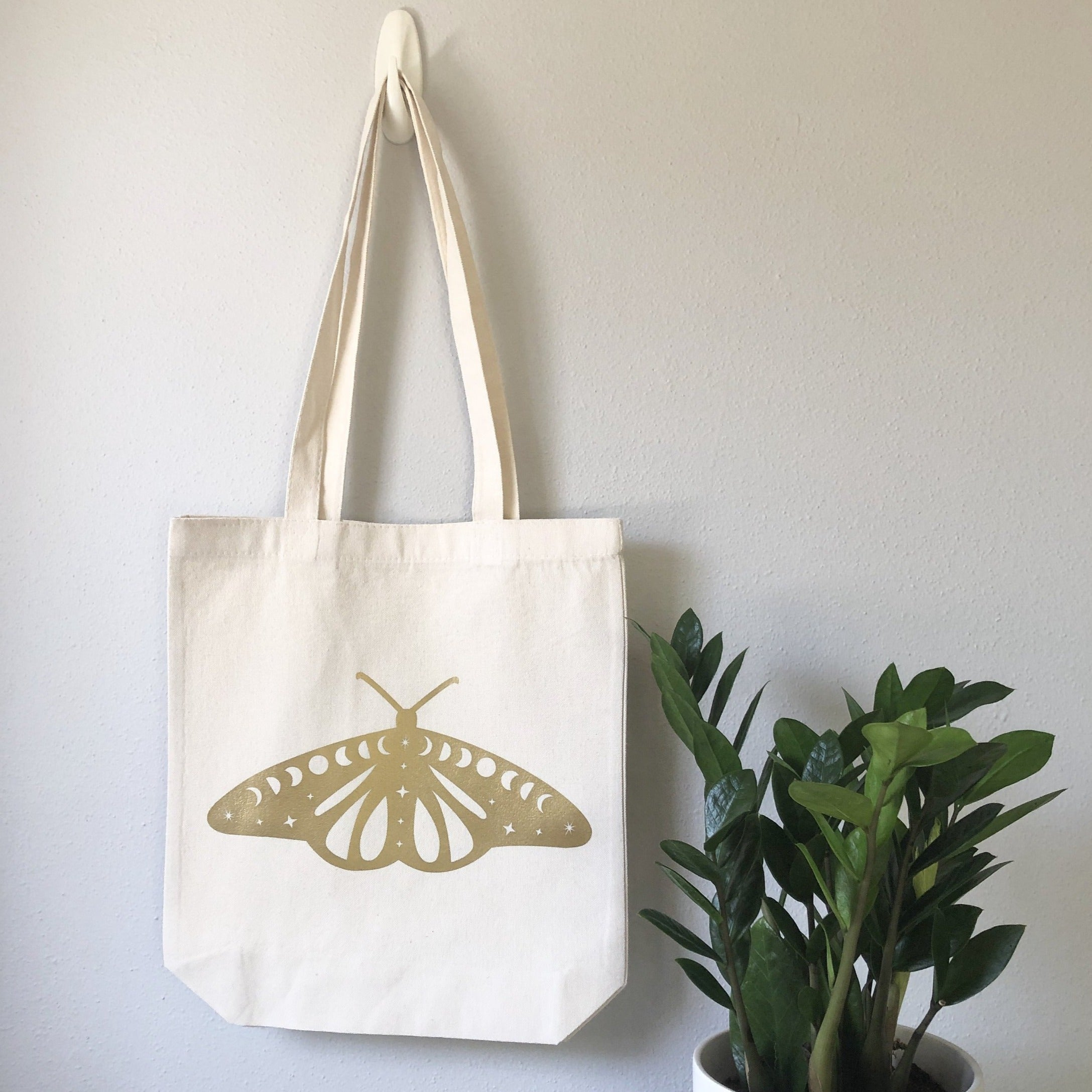 Cosmic Moth Witchy Canvas Tote Bag - White