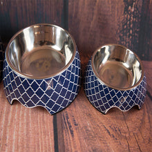 Load image into Gallery viewer, Moroccan Valour Blue Dog Bowl