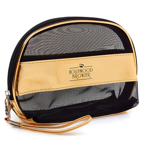 HOLLYWOOD BROWZER Gold & Black Mesh Bag