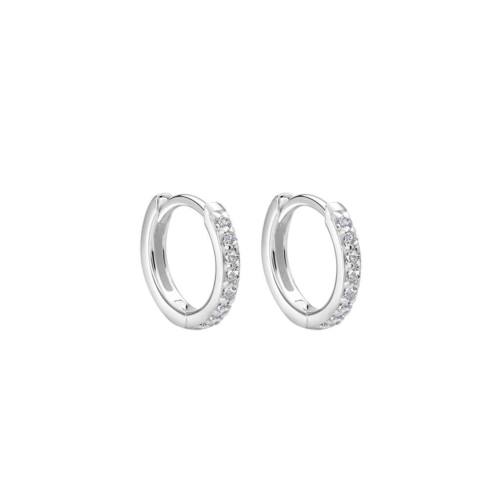 Petites 11mm Hoop Earrings with White Topaz