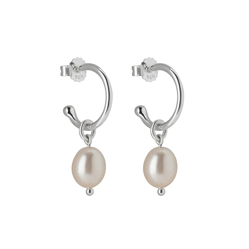 Petite Hoop Drop Earrings with Pearl