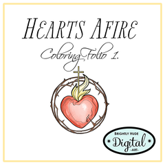 Hearts Afire Coloring Page Set