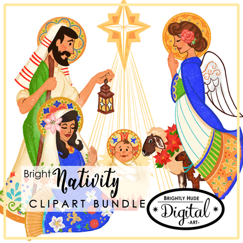 "Digital 14 Image & 2 Project Set- ""Bright Nativity"""