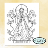 "Printable Coloring Page Set- ""Hearts Afire"""