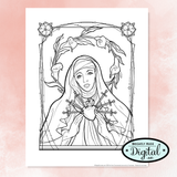 "Printable Coloring 10 Page Set- ""Hearts Afire"""