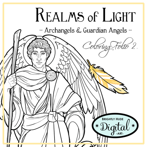"Printable Coloring 10 Page Set- ""Realms of Light"""