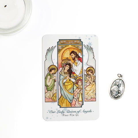 Our Lady, Queen of Angels Prayer Card