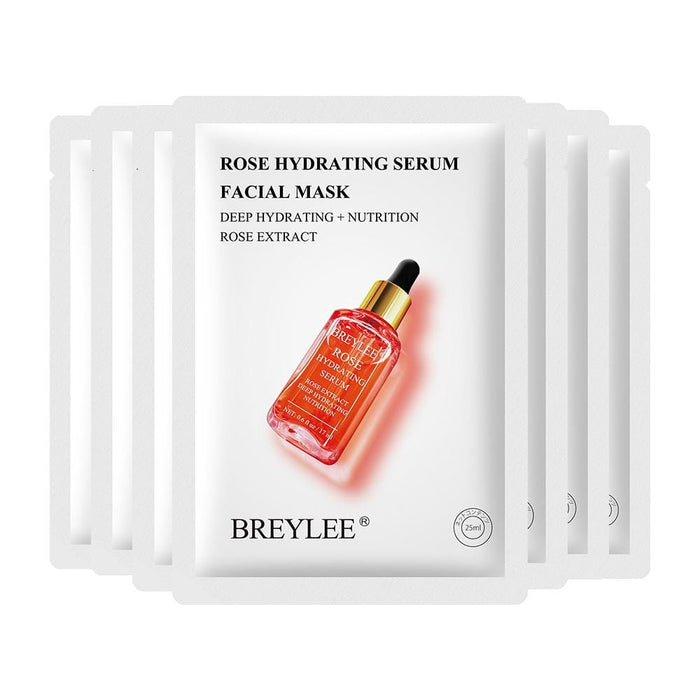 BREYLEE Rose Serum Facial Mask Nourish and Brighten condition the skin and remove the drynes roughness and fine lines Skin Care 25 ml*7