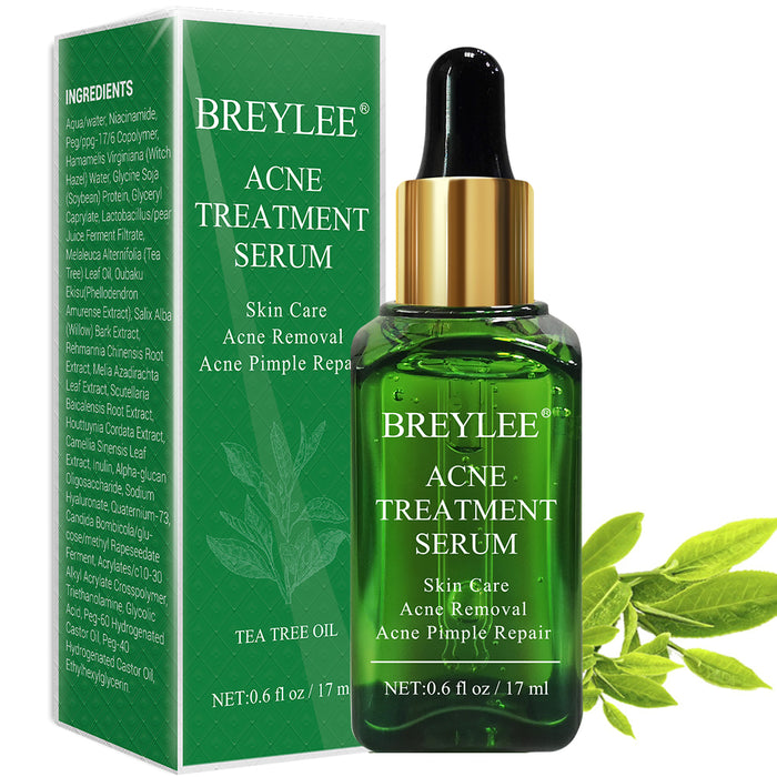 BREYLEE Acne Treatment Serum With Tea Tree Extract, Facial Essence To Anti Acne And Scar Removal For Clearing Acne, Breakout, Pimple Remover and Repair Skin (0.71 fl oz / 17ml)