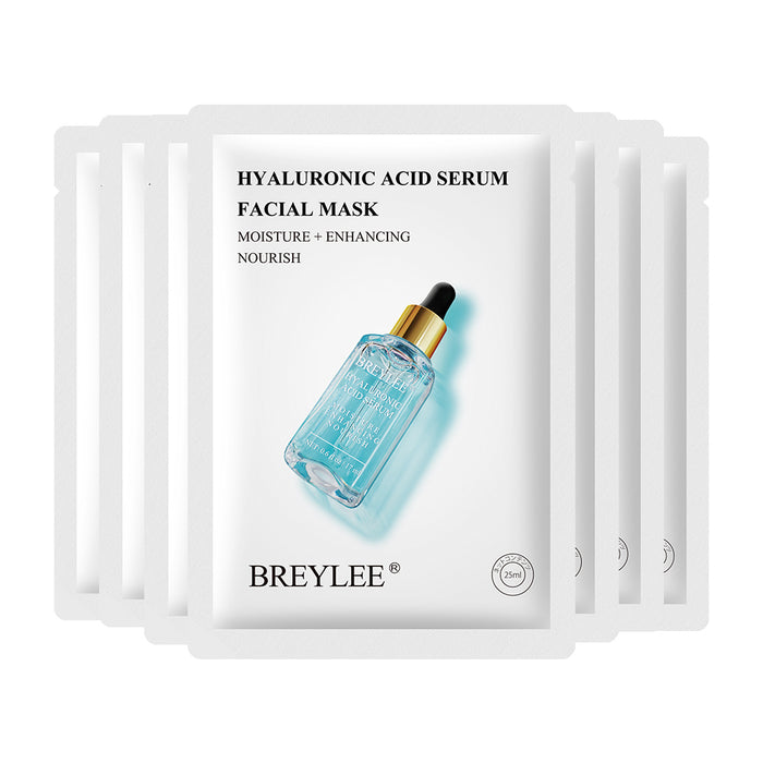 BREYLEE Face Sheet Mask Hyaluronic Acid Serum Anti-Aging Moisturizing Facial Skin Care Essence Peel Off Mask Oil Control 25 ml*7