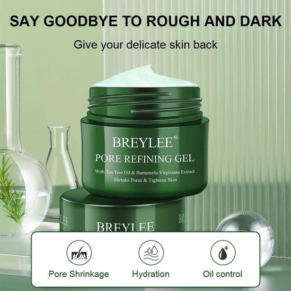 BREYLEE Pore Refining Gel, Pores Shrinking and Tightening Facial Gel with Tea Tree Extracted, For Repair, Hydration and Oil-Control Facial Skin Care. (1.41 Fl oz/ 40g)