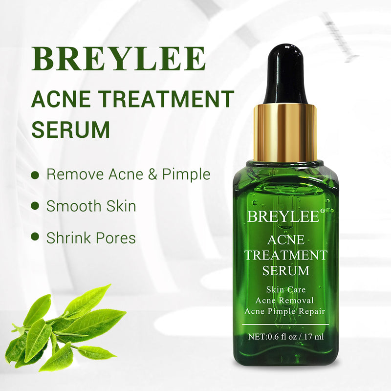 BREYLEE Acne Treatment Serum Facial Essence Tea Tree Anti Acne Scar Removal Serum for Clearing Severe Acne, Breakout, Pimple Remover and Repair Skin (17ml,0.6fl oz)