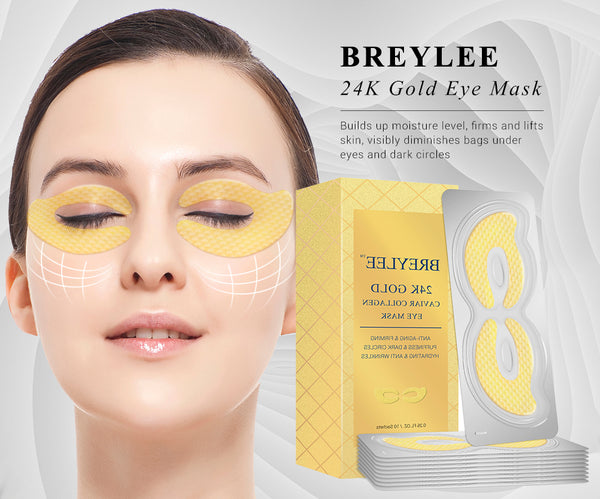 BREYLEE 24K Gold Eye Mask Caviar Collagen Essence New Style Eye Patch Anti Aging Remove Wrinkle Sheet Mask Eye Skin Care 10pairs