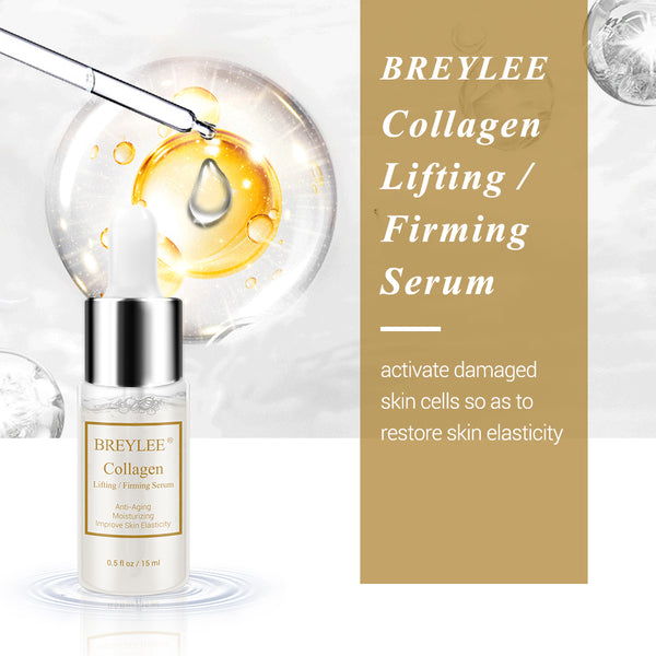 BREYLEE Collagen Lifting Firming Serum Hyaluronic Acid Moisturizing Essence Anti-Aging Remove Wrinkles Face Cream Skin Care 15ml