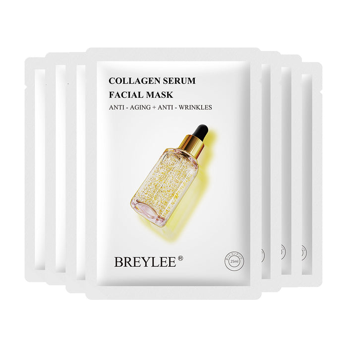 BREYLEE Collagen Serum Facial Mask Anti-Aging and Anti-Wrinkles improve flabby skin fade wrinkles Skin Care Moisturizing Face Mask 25ml*7