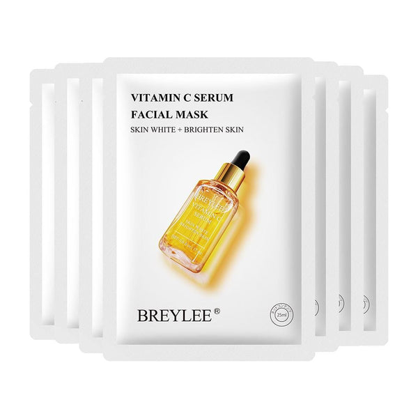 BREYLEE Facial Serum Mask Vitamin C Whitening Moisturizing Antioxidation Anti-Aging Essence Sheet Mask Skin Care Face Cream 25ml*7