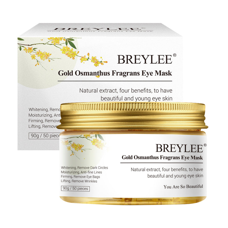 BREYLEE Gold Osmanthus Fragrans Eye Mask Collagen Gel Eye Patch Face Skin Care Remove Dark Circles Lifting Firming Serum 50pcs