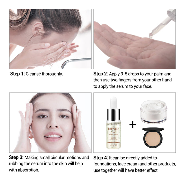 BREYLEE Snail Repairing Serum Anti-Acne Rejuvenation Essence Scars Acne Treatment Liquid Face Skin Care Nourishing Moisturizing