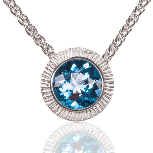 Chip-Hammered Blue Topaz Pendant