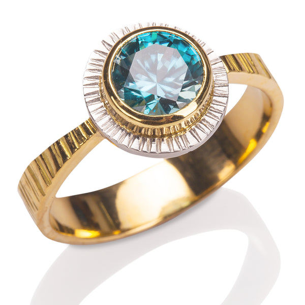 Reverse Tapered Blue Zircon Ring
