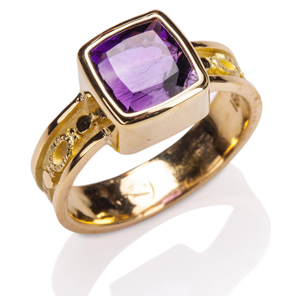 Abstract Rail Amethyst Ring