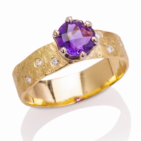 Rockhammered Amethyst Ring