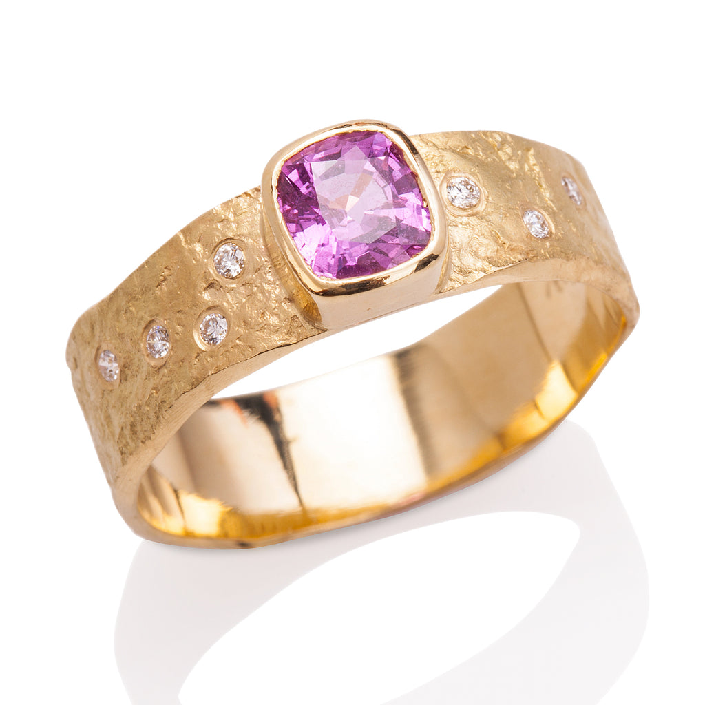 Pink Sapphire Rockhammered Ring