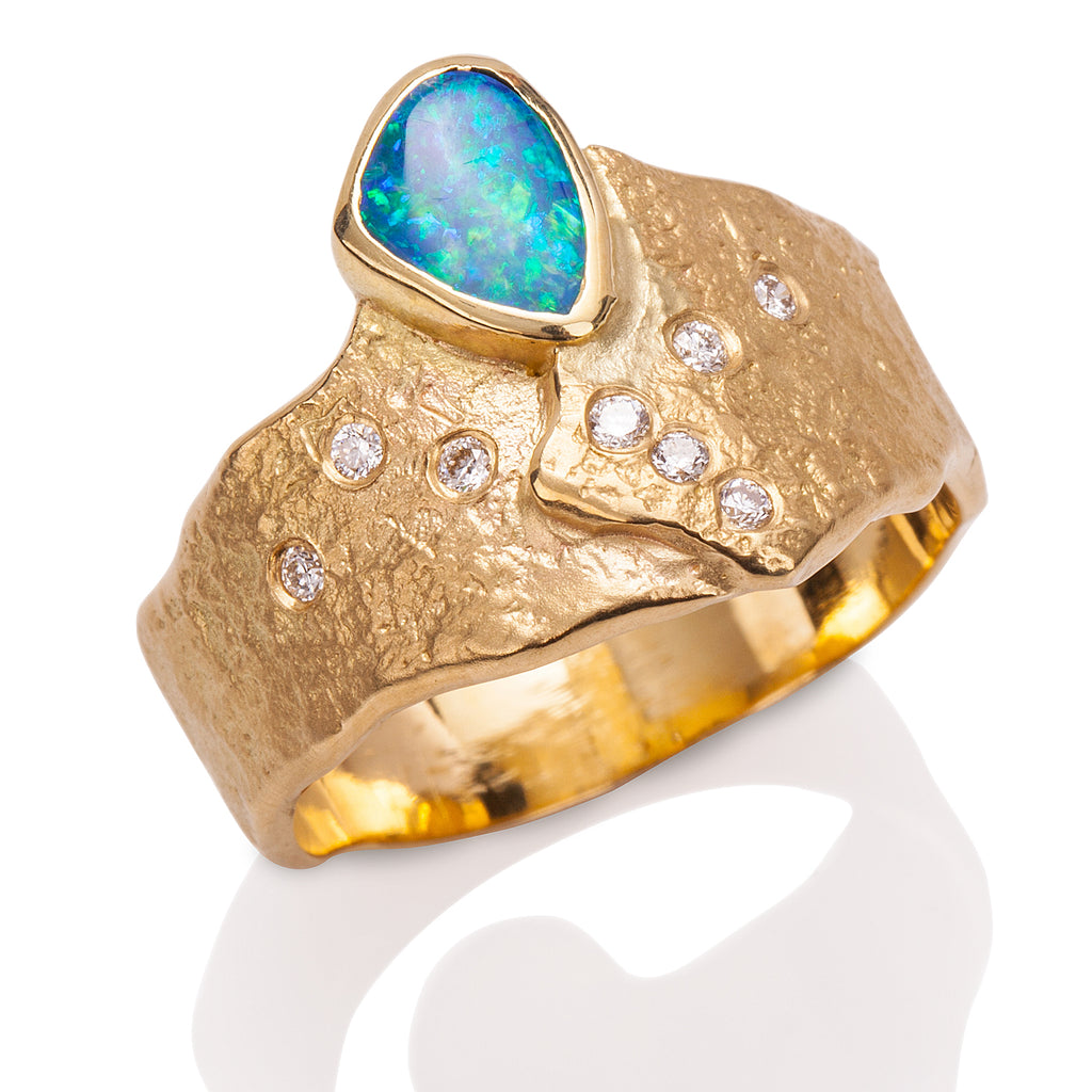 Rockhammered Opal Ring
