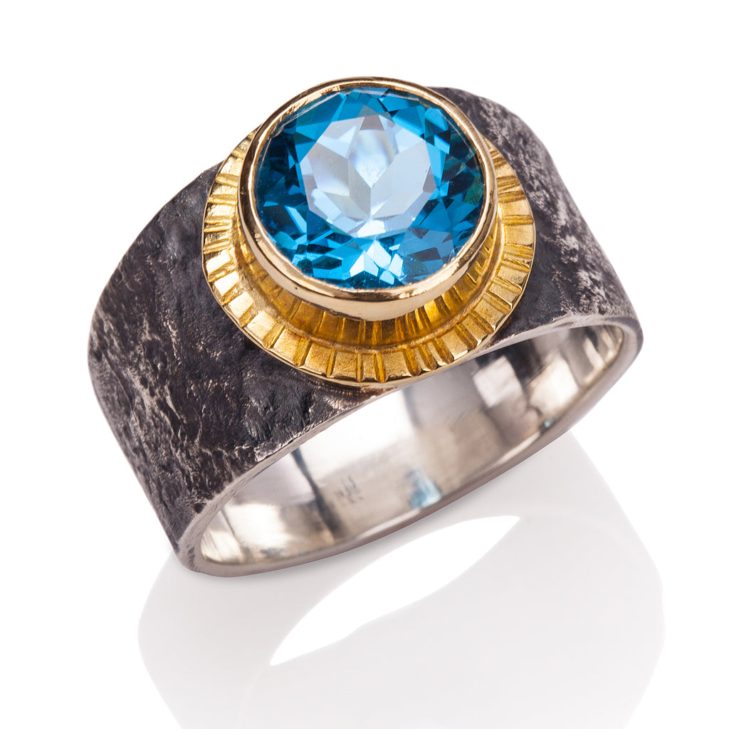 Rockhammered Blue Topaz Ring