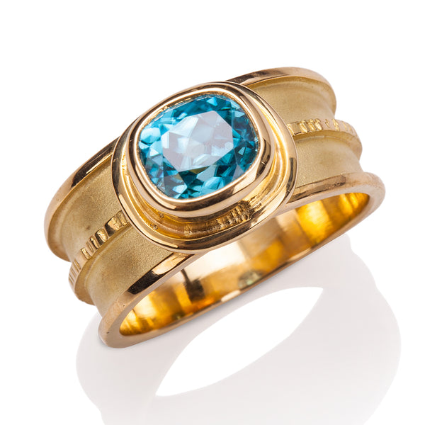 Chip Center Blue Zircon Ring