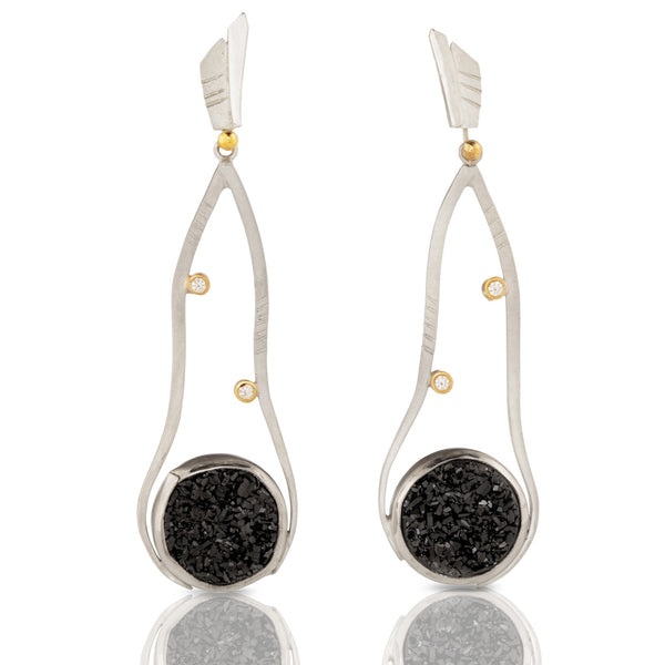 Round Druzy Drop Earrings